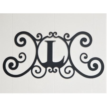 Scrolled Iron Metal Letter L Monogram Personalized Initial Wall Art Family Name Decor Plaque Decoration ()