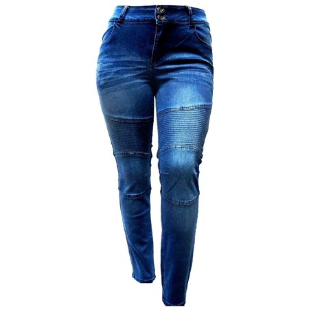 - Jack David Women's Plus Size Moto Biker Stretch Skinny Denim Jeans Pants Y1648