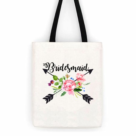 Round Trip Bag - Bridesmaid Floral Arrows Wedding Cotton Canvas Tote Bag School Day Trip Bag