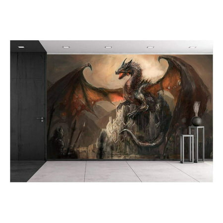 wall26 - War with the dragon on castle - Removable Wall Mural | Self-adhesive Large Wallpaper - 66x96 -