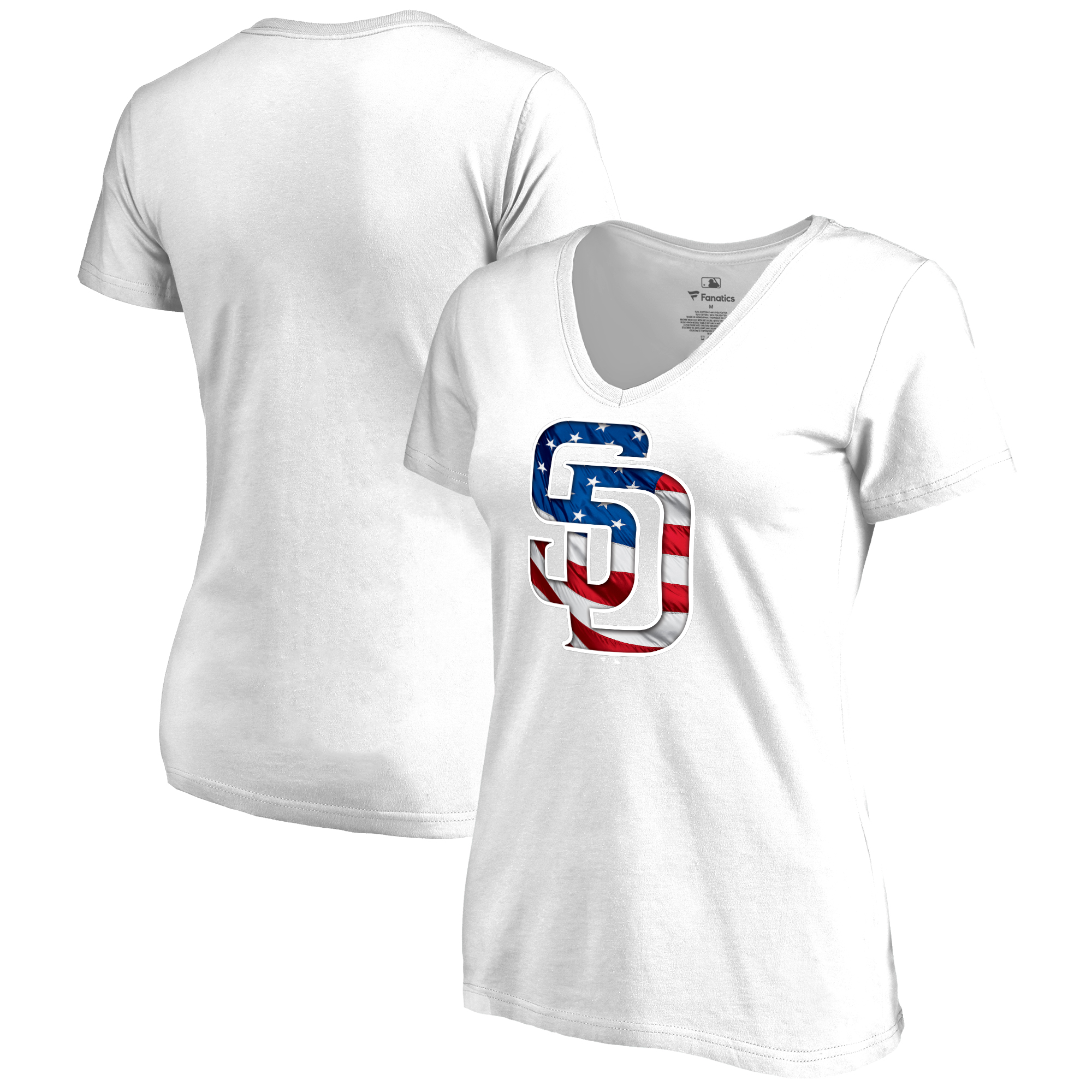 San Diego Padres Fanatics Branded Women's 2018 Memorial Day Banner Wave Plus Size T-Shirt - White