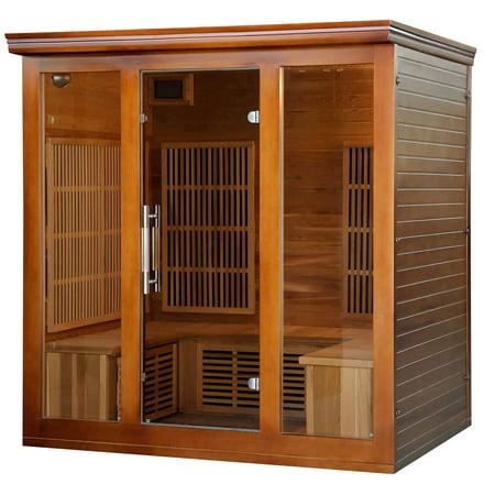 Heat Wave Elite 4 Person Sauna FAR Infrared Red Cedar Wood 9 Carbon Heaters 2410 Watt 20 amp Bluetooth - Color Light Therapy (Heat Wave Sauna)