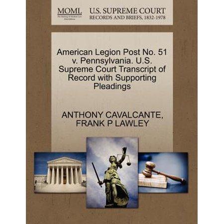 American Legion Post No. 51 V. Pennsylvania. U.S. Supreme Court Transcript of Record with Supporting Pleadings
