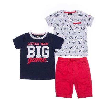 37153a4c3 Baby Toddler Boy Henley Shirt, T-shirt & Shorts, 3pc Outfit Set ...