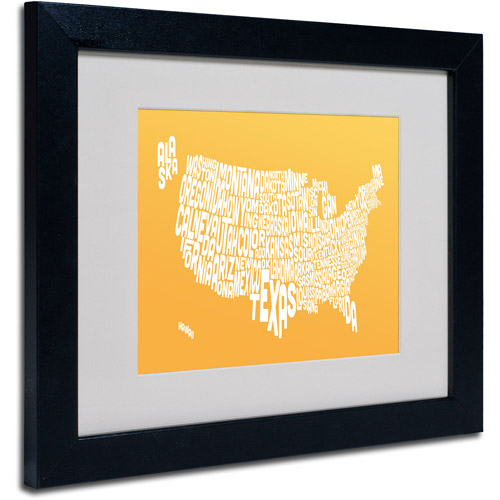 "Trademark Fine Art ""SUNSET-USA States Text Map"" Matted Framed by Michael Tompsett"