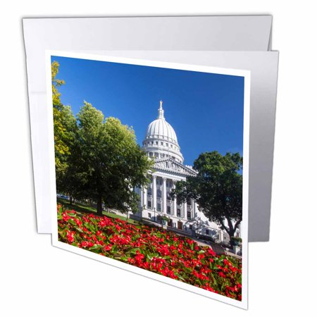 3dRose Flowers in front of state capitol building Madison, Wisconsin, USA, Greeting Cards, 6 x 6 inches, set of (Capitol Card)