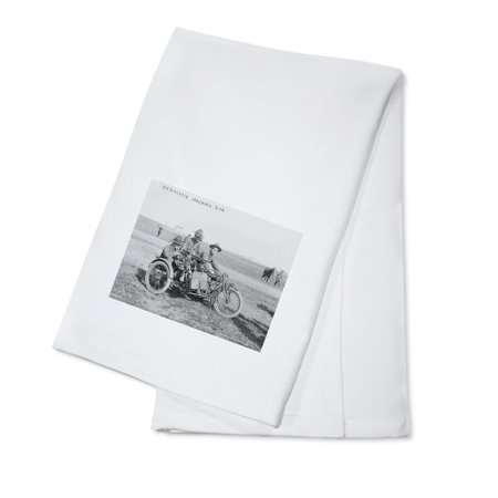 Military Motorcycle with Sidecar and Machine Gun - Vintage Photograph (100% Cotton Kitchen Towel)
