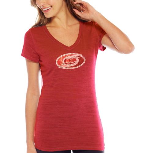 Carolina Hurricanes Women's Sequin Logo Multi V-Neck Slim Fit T-Shirt - Red