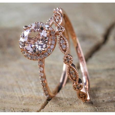 - Sale on Antique Vintage Design Milgrain 2 carat Round Morganite and Diamond Halo Bridal Wedding Ring Set in Rose Gold for Women