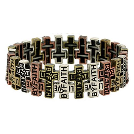 Live By Faith Weaving Cross Stretch Bracelet Christian Inspirational Religious Jewelry (Inspirational Jewelry Bracelet)