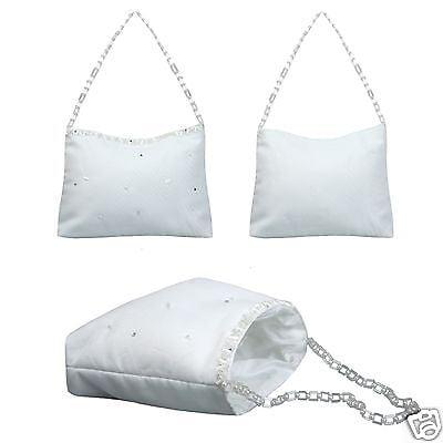 L12 White Purse Handbag w/Pearls and chain for Communion Bridal Flower Formal