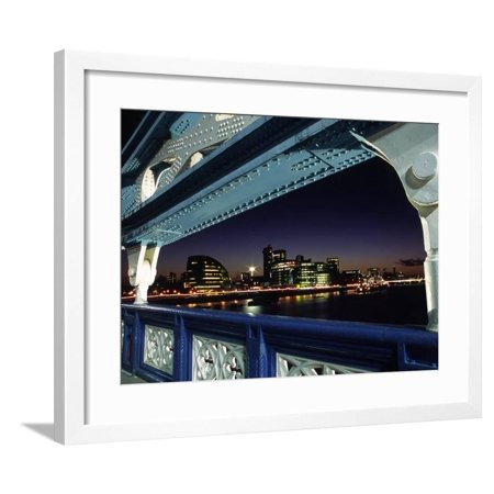 View Towards London's South Bank and the New City Hall from Arch on Tower Bridge in Central London Framed Print Wall Art By Andrew