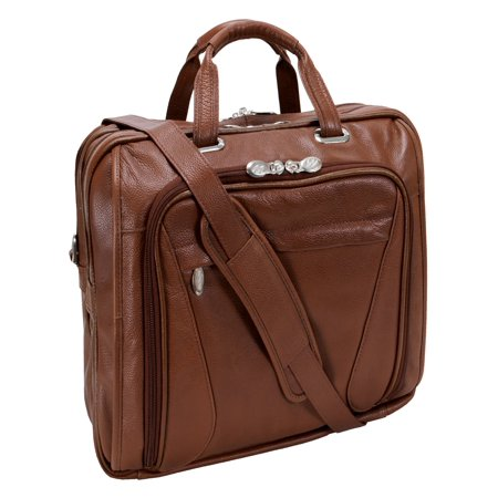 McKlein IRVING PARK, Double Compartment Laptop Briefcase, Pebble Grain Calfskin Leather, Brown (15574)