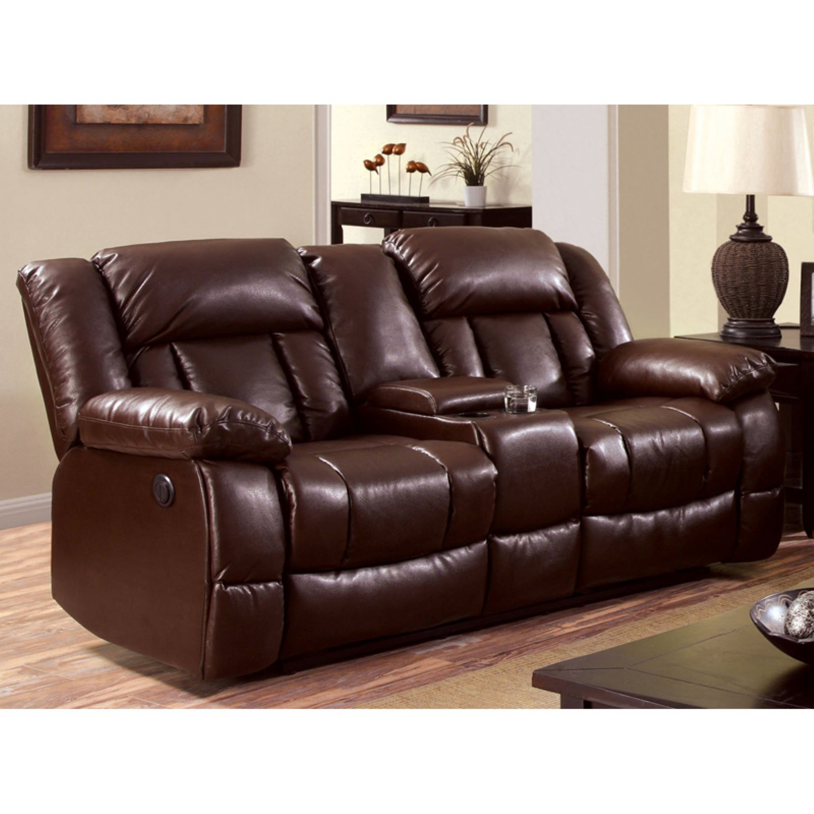 Furniture of America Bostwick Recliner Loveseat with Center Cup Holders