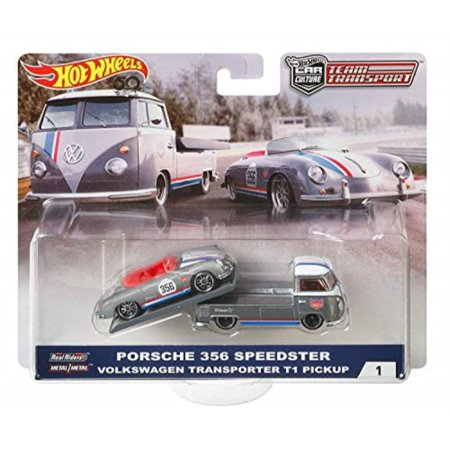 Car Transporter Wheel (Hot Wheels 2018 Car Culture Team Transport Porsche 356 Speedster Volkswagen Transporter T1 Pickup 1/64 Scale Diecast Car Set)