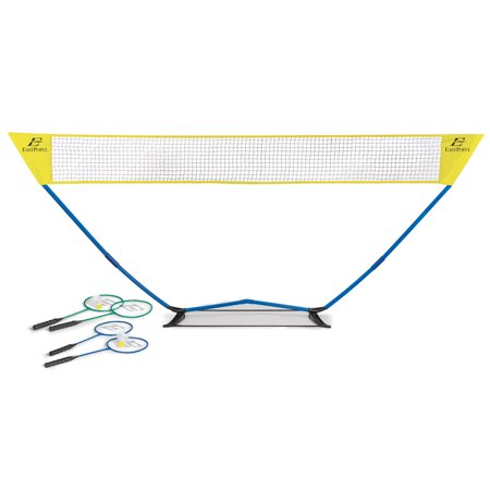 EastPoint Sports Easy Setup Badminton Set; Quick Assembly, No tools required 15 Ft. by 5 Ft. Outdoor Badminton; Includes 4 Metal Rackets and 2 Shuttlecocks for Fun Play with Friends and
