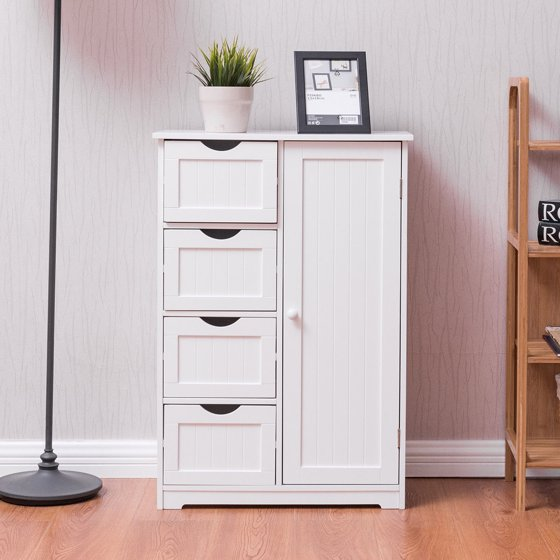 Costway wooden 4 drawer bathroom cabinet storage cupboard 2 shelves free standing white for White bathroom cabinets free standing