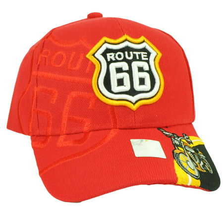 Route 66 Hot Rod - Route 66 USA First Highway Road Motorcycle Red Cruising Hat Cap Historic Old