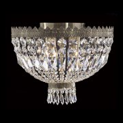 "Worldwide Lighting W33085B16 Metropolitan 4-Light 16"" Flush Mount Ceiling Fixture in Antique Bronze with Clear Crystals"