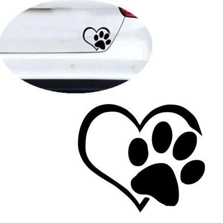 6a5f89d403d5 Pet Paw Print With Heart Dog Cat Vinyl Decal Car Window Bumper Sticker -  Walmart.com
