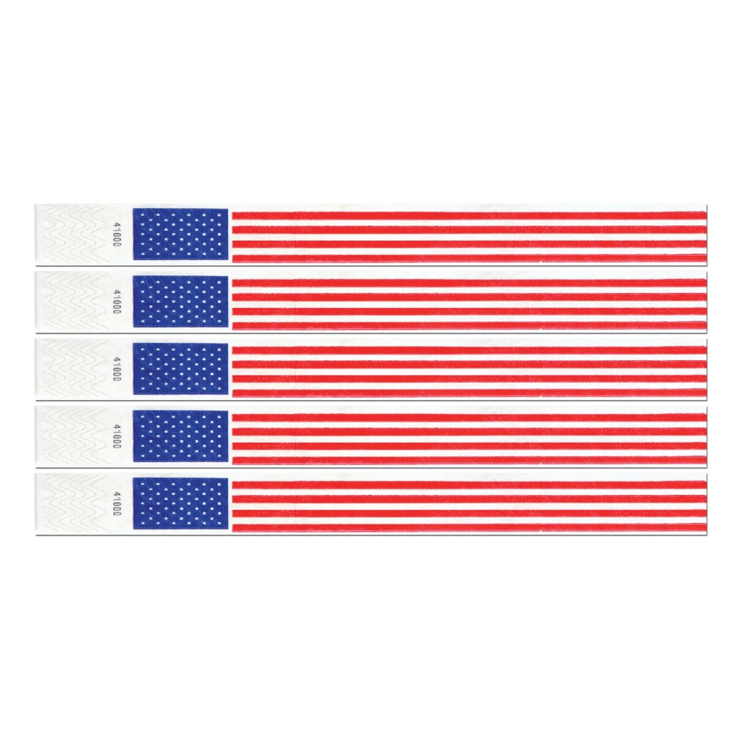 Club Pack of 600 Red, White and Blue Patriotic Tyvek Party Wristbands 10""