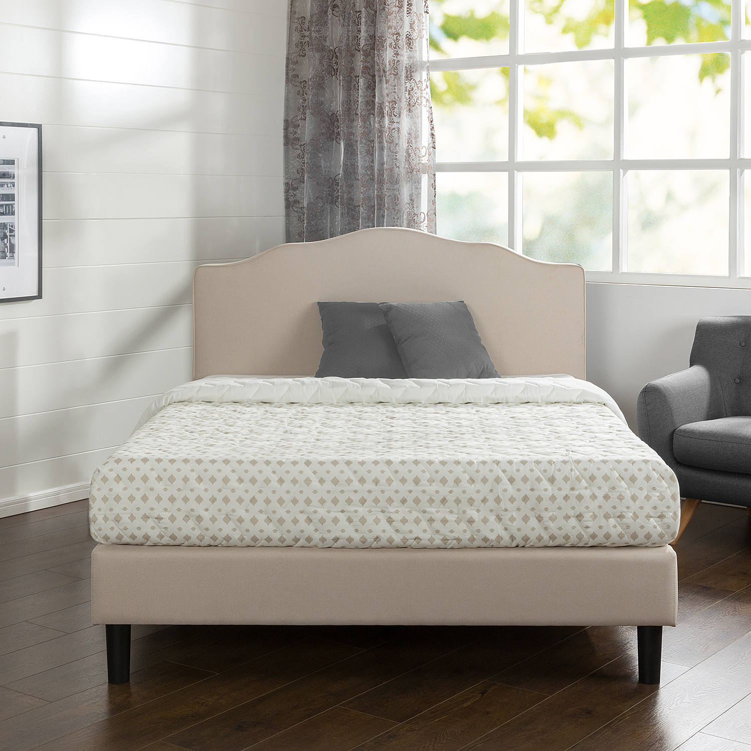 Zinus Paris Scalloped Upholstered Platform Bed, Multiple Sizes