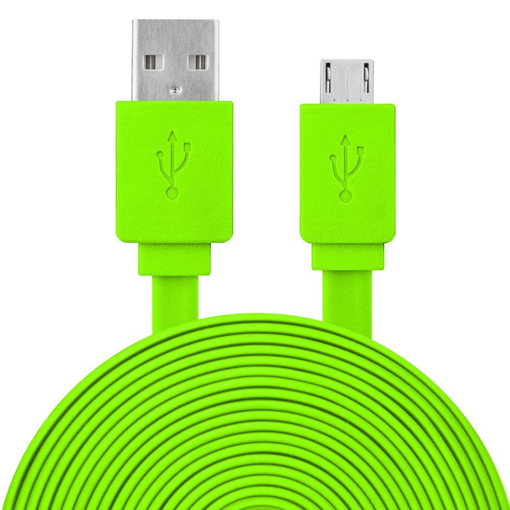 9 Feet Extra Long Premium Flat Line Micro USB to USB Charger Sync Cable - Green