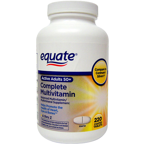 Equate Mature Multivitamin A Thru Z Adults 50  Tablets Dietary Supplement - 220 Ct