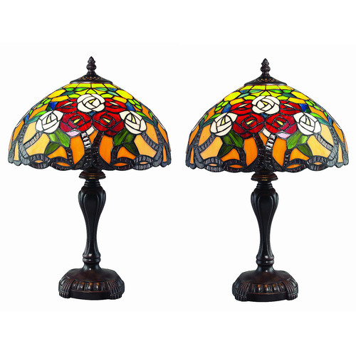 Serena d'italia Tiffany 1 light Floral Table Lamp Set