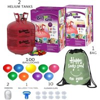 Balloon Time Disposable Helium Tank 14.9 cu.ft (2) count - 100 Latex Balloons + Balloon Tying Tool + 2 Curling Ribbon + 10 Clips + 1 Drawstring Backpack Bag