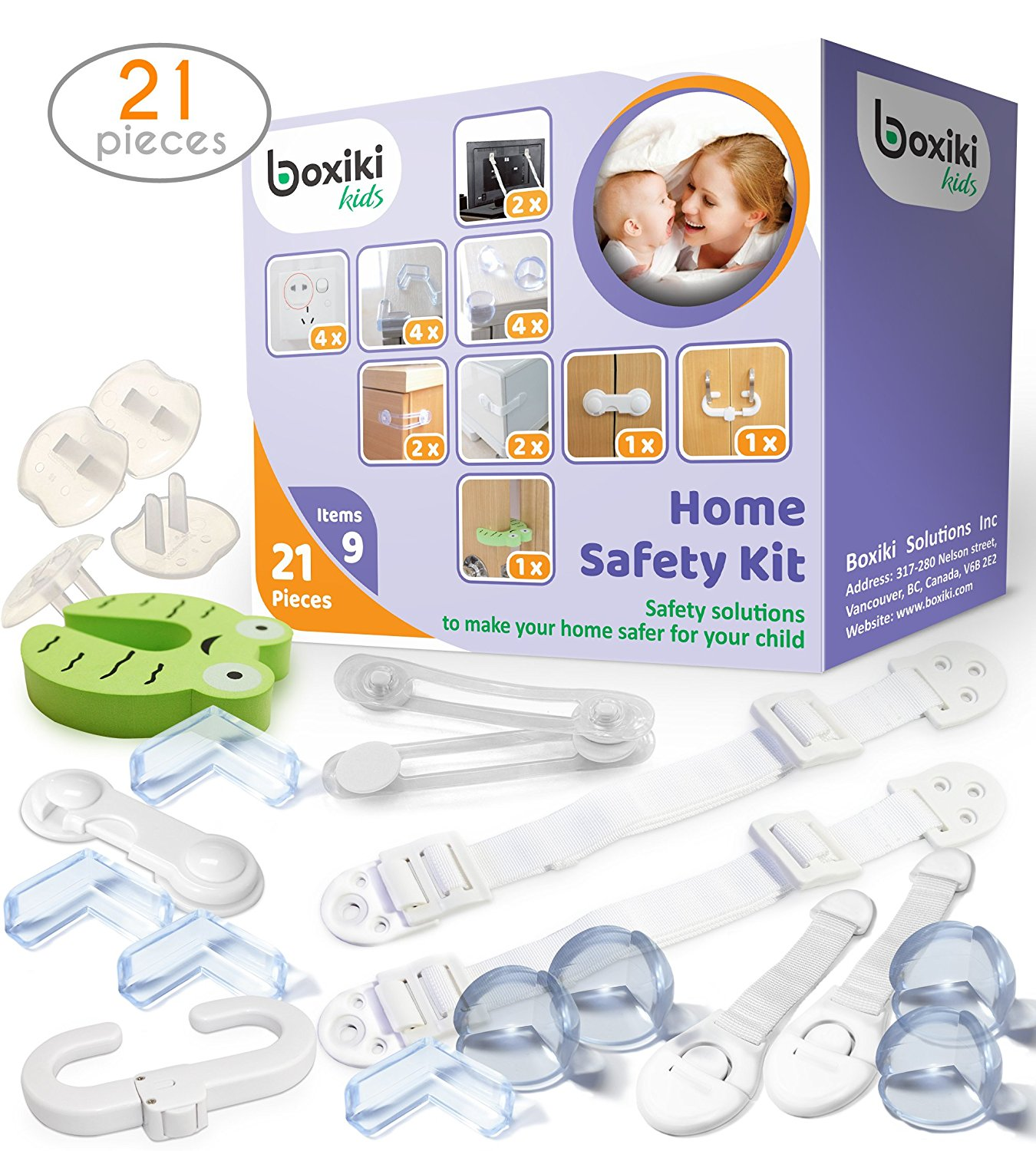 Child Safety Kit (21 pieces) by Boxiki Kids. 8 Corner Protectors, 4 Plug Protectors, 2 Anti-Tip Furniture... by Boxiki kids