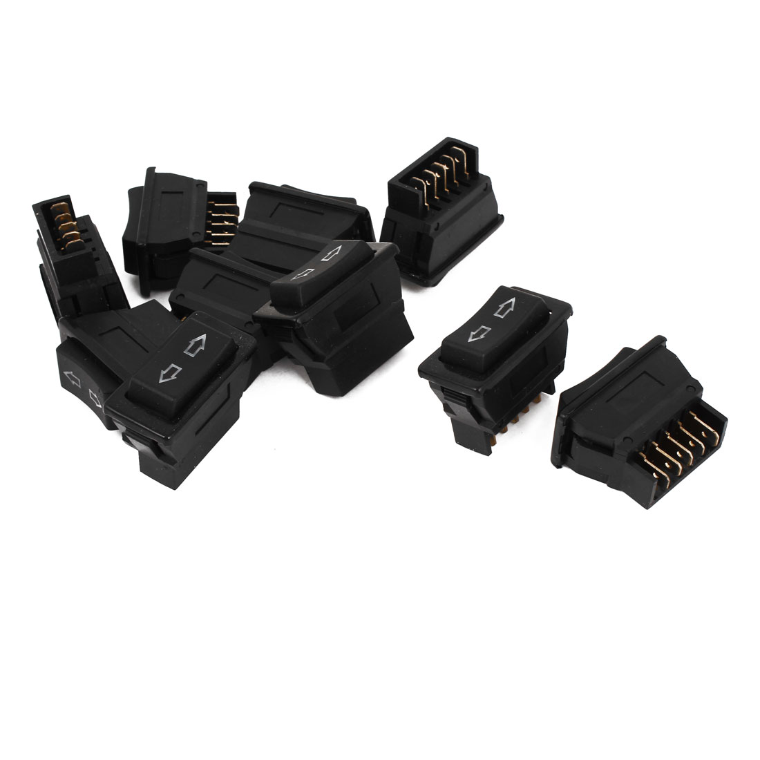Unique Bargains 10pcs DC 12V Momentary 5 Pins DPDT Power Window Master Switch for Car