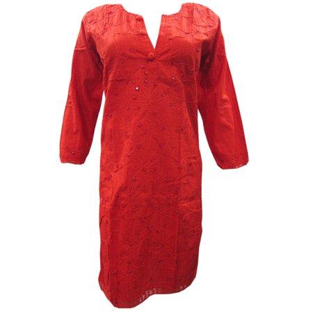 Mogul Womens Indian Tunic Cotton Floral Embroidered Bohemian Ethnic Kurti Red Long Kurta Dress Cover Up Beach Dresses