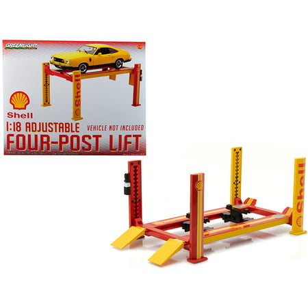 Four Post Lift Shell Oil for 1/18 Scale Diecast Model Cars by Greenlight