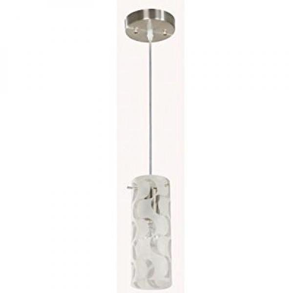 Hampton Bay 1-light Wave Pattern Etched White Glass Brushed Nickel Mini Pendant by