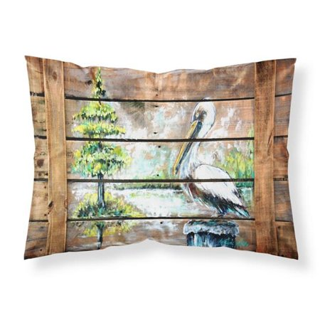 Carolines Treasures MW1215PILLOWCASE Summer by the Lake White Pelican Fabric Standard Pillowcase - image 1 of 1