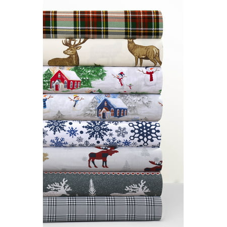 Tribeca Living Snowman Printed Flannel Printed Extra Deep Pocket Sheet Set Twin XL Red Green
