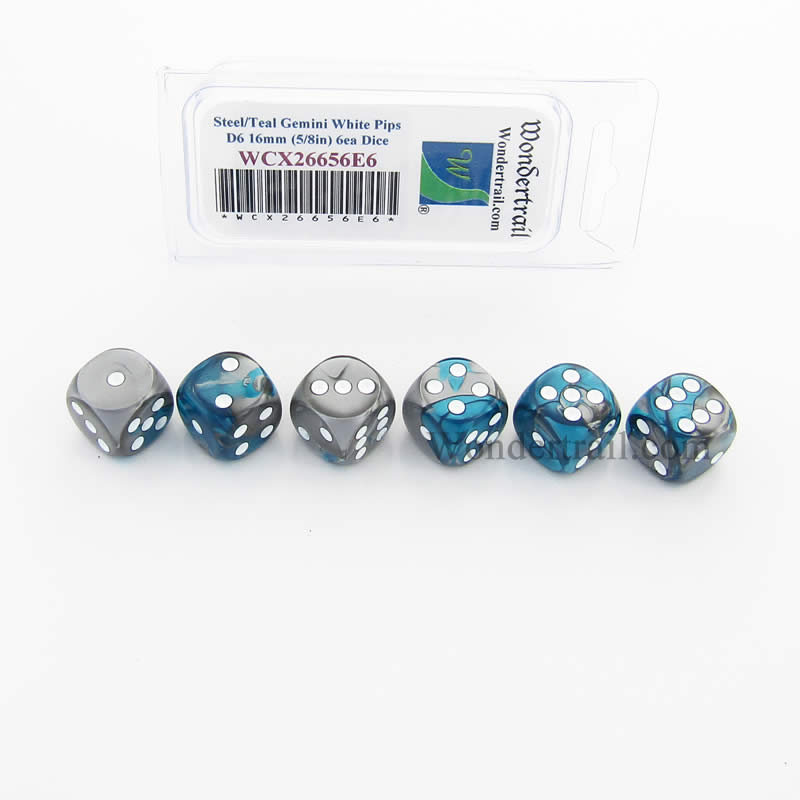 Steel and Teal Gemini Dice with White Pips D6 16mm (5/8in) Pack of 6 Wondertrail