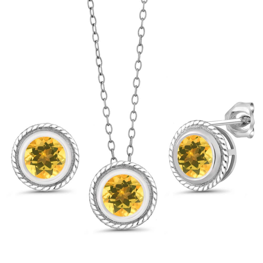 2.10 Ct Round Yellow Citrine Gemstone Sterling Silver Pendant Earrings Set