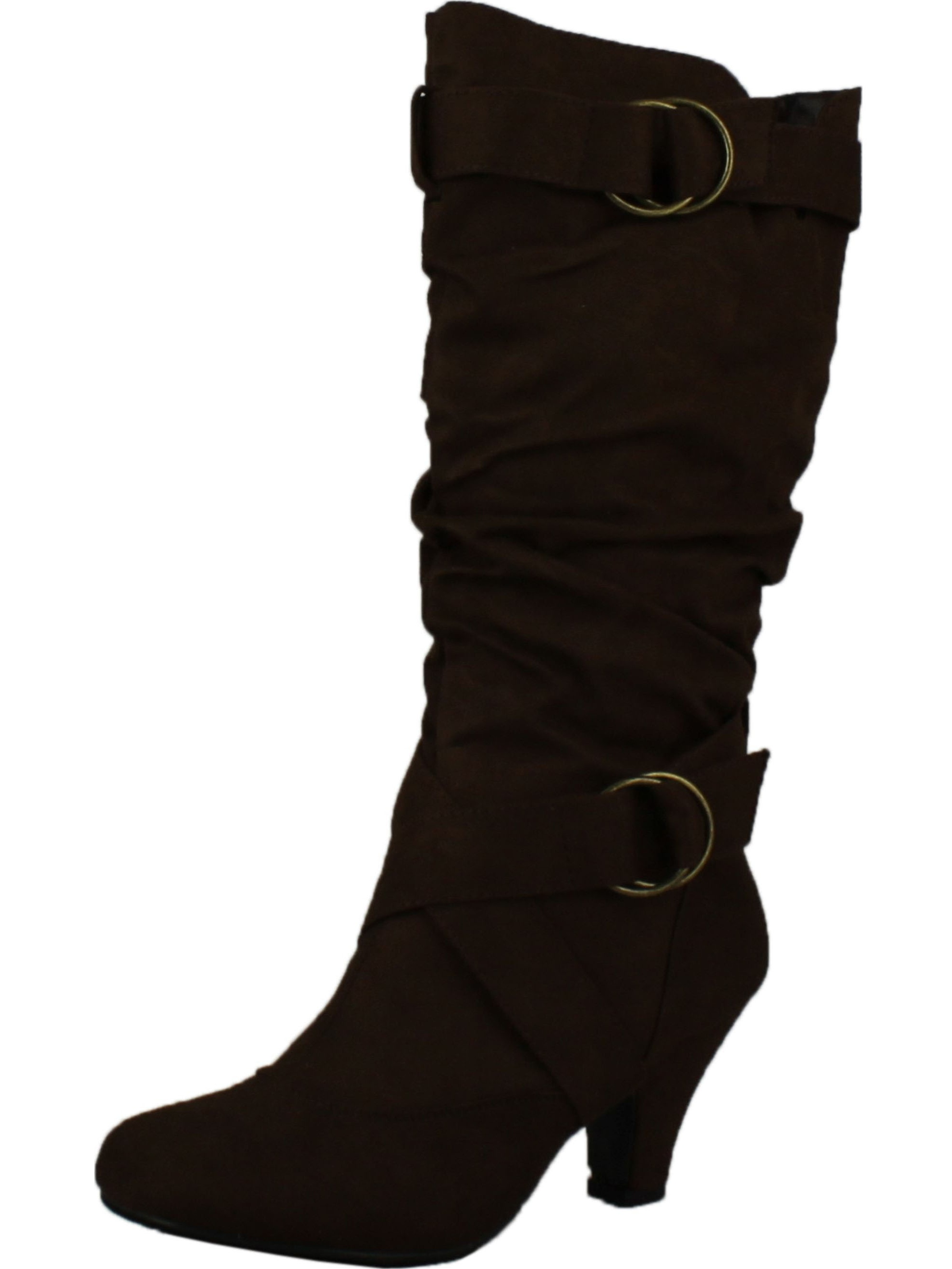 Maggie-38 Women Knee High Kitty Heels Wide Shaft Boots