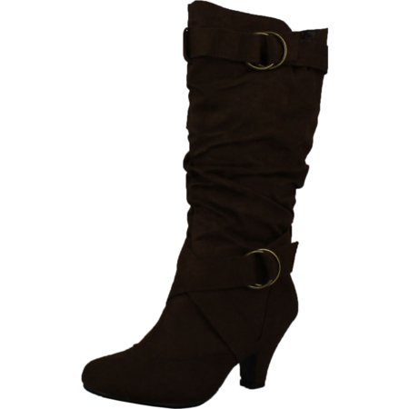 New Ladies Brown Wedge Heel - Maggie-38 Women Knee High Kitty Heels Wide Shaft Boots