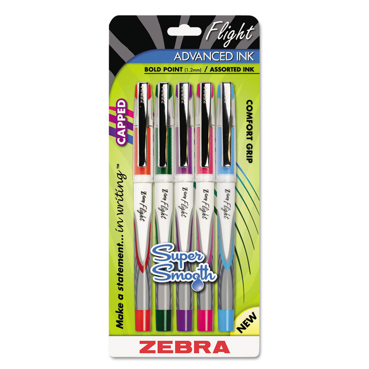 Zebra Pen Z-grip Flight Ball Point Stick Pens - Bold Pen Point Type - 1.2 Mm Pen Point Size - Assorted Ink - 5 / Pack (21875_40)