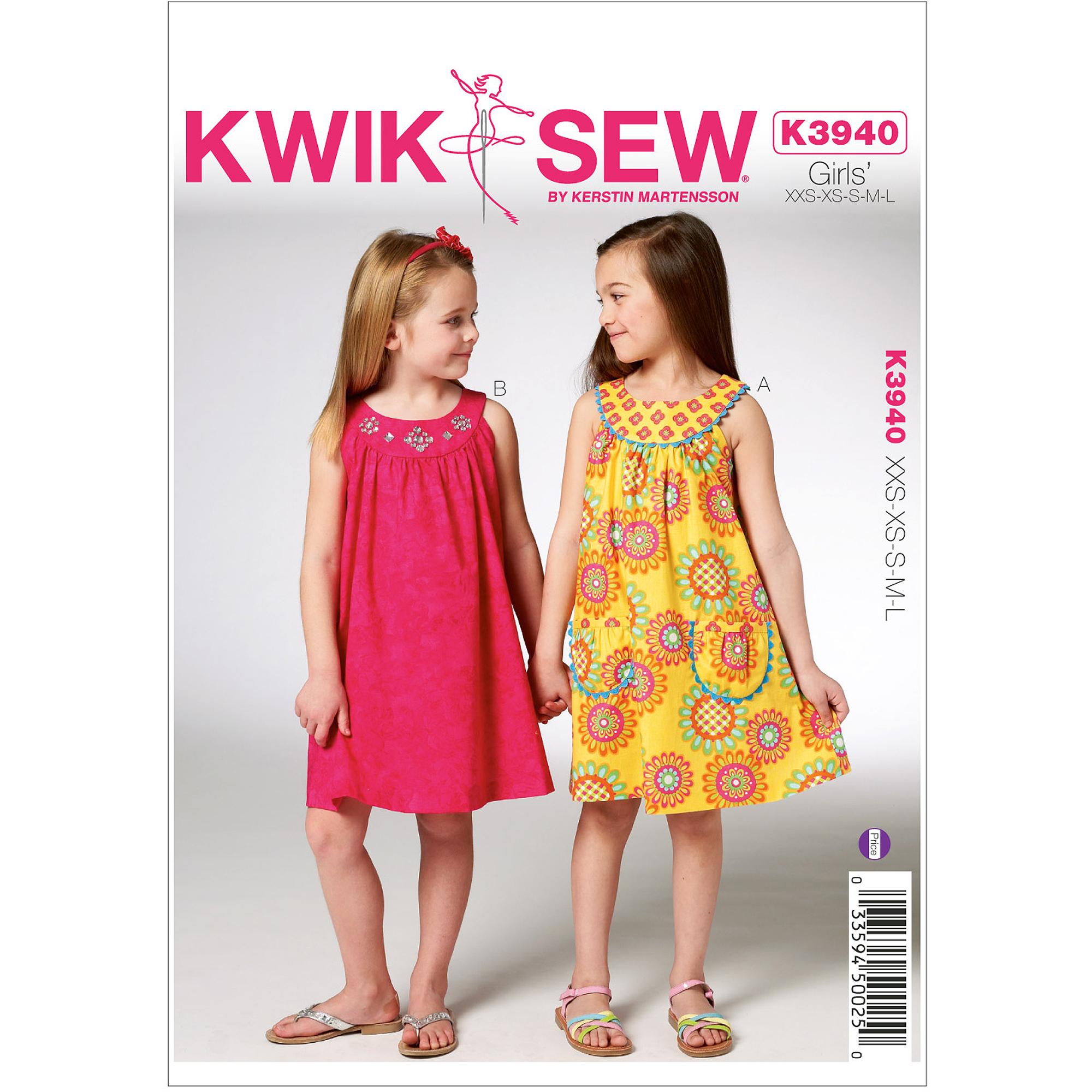 Kwik Sew Pattern Girls' Dresses, (XXS, XS, S, M, L)