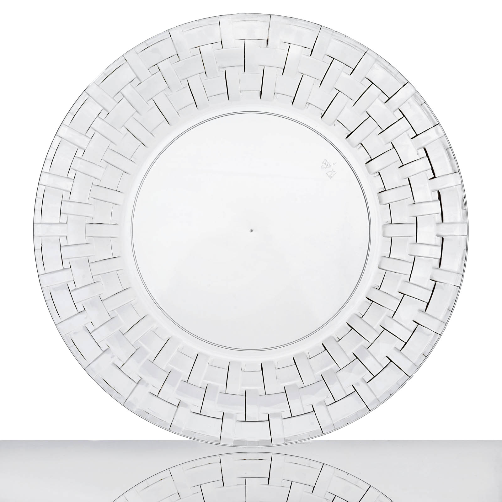 Efavormart 50 Pcs - Clear Round Disposable Plastic Plate Dinner Plates for Wedding Party Banquet Events - Basketweave Collection