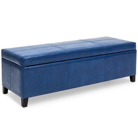 Best Choice Products 52in Faux Leather Upholstered Ottoman Coffee Table Bench Chest for Living Room, Bedroom, Entryway w/ Wooden Frame, Blue ()