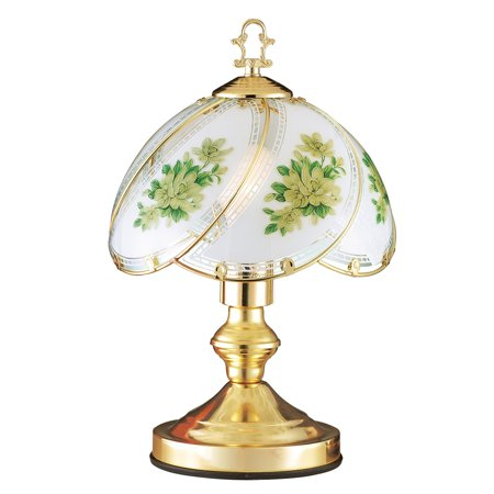 Magnolia Floral Glass Shade Touch Lamp