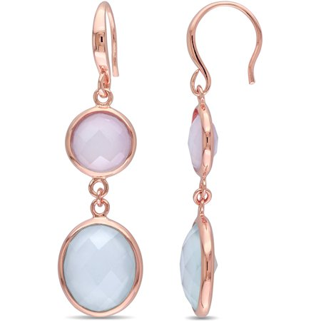 Tangelo 9-1/2 Carat T.G.W. Green and Pink Chalcedony Rose Rhodium-Plated Sterling Silver Double Oval Dangle Earrings