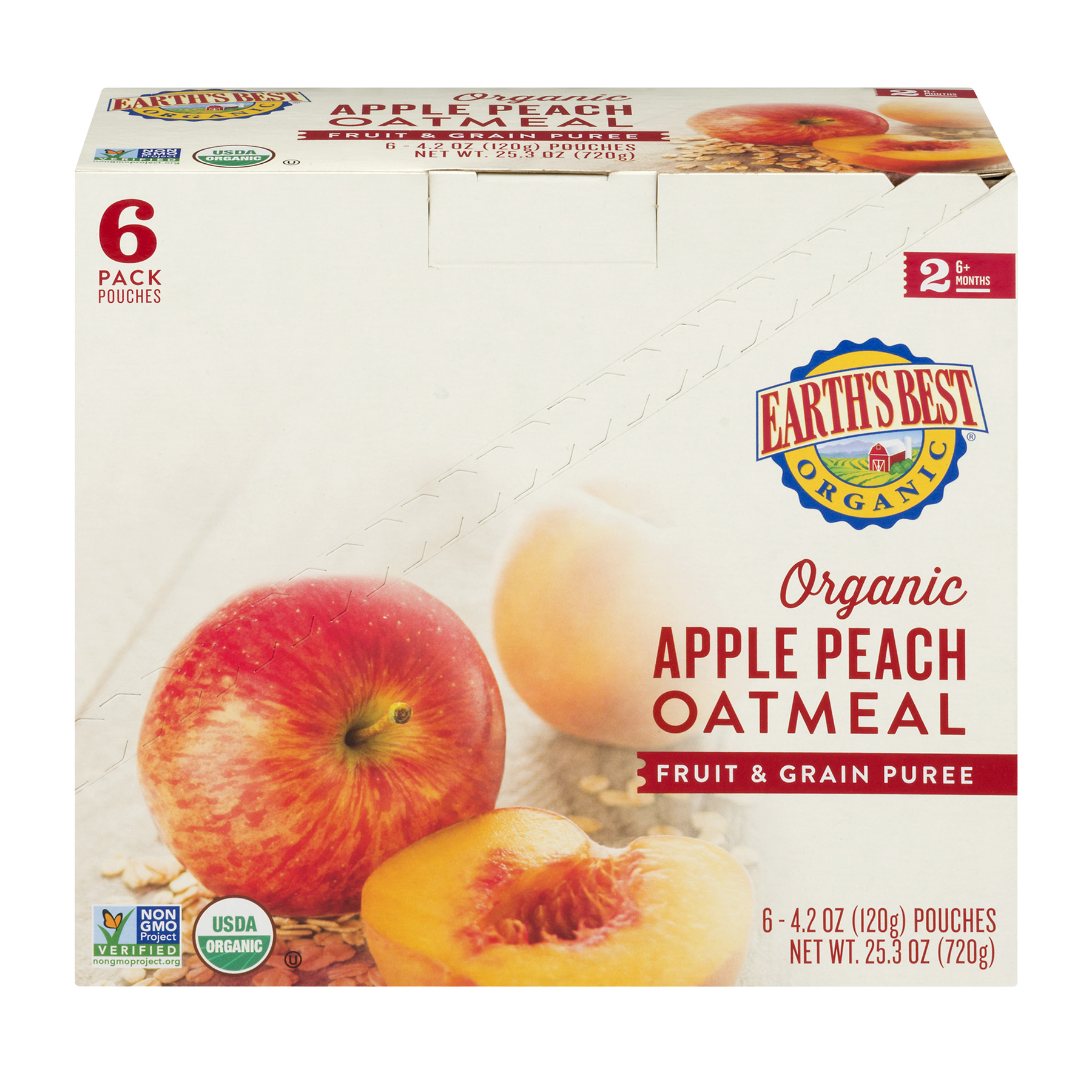 Earth's Best Organic Apple Peach Oatmeal Fruit & Grain Puree 6+ Months - 6 PK, 4.2 OZ