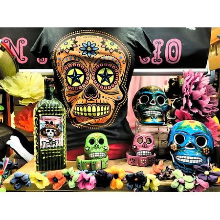 Canvas Print Halloween Skulls Symbol Voodoo Dead Skeleton Stretched Canvas 10 x 14
