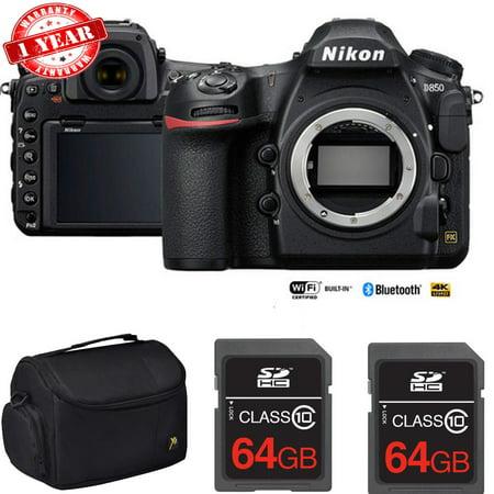 Nikon D850 45.7MP Full:Frame FX DSLR Camera (Body) with Dual 64GB Pro Memory Cards